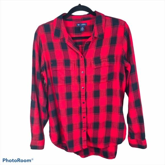 Gap Button Down Buffalo Plaid Shirt Red & Black